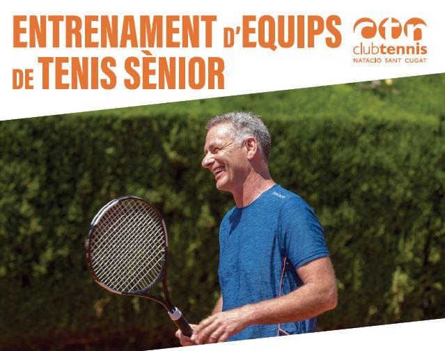 Entrenament jugadors equips de tenis sènior